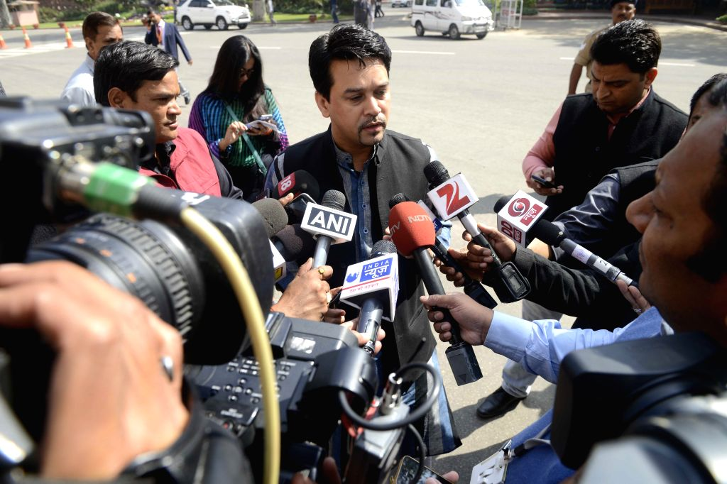 BJP MP Anurag Thakur at the Parliament in New Delhi, on March 11, 2015.