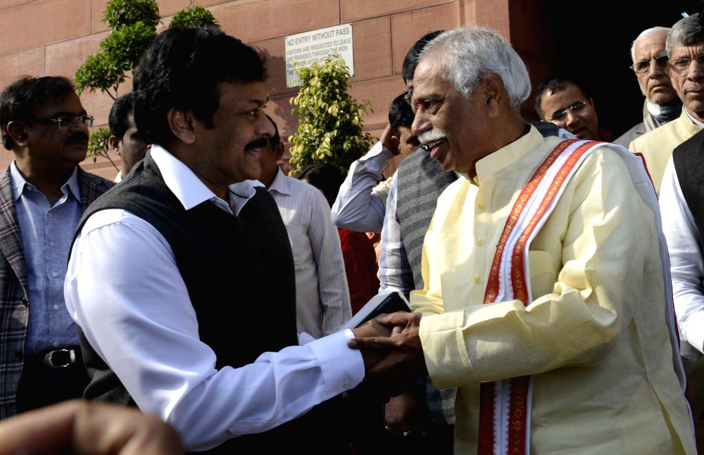 BJP MP from Secunderabad Bandaru Dattatreya with actor-turned politician Chiranjeevi at the Parliament premises in New Delhi, on Dec 17, 2014.