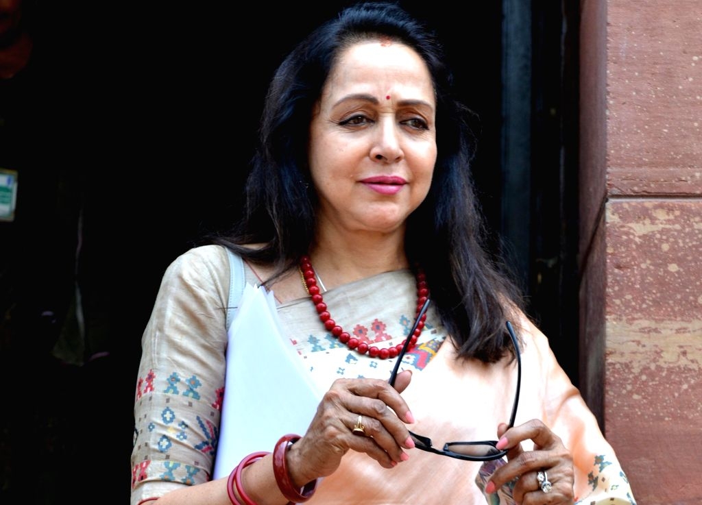 New Delhi: BJP MP Hema Malini at Parliament in New Delhi on June 25, 2019. (Photo: IANS) - Hema Malini