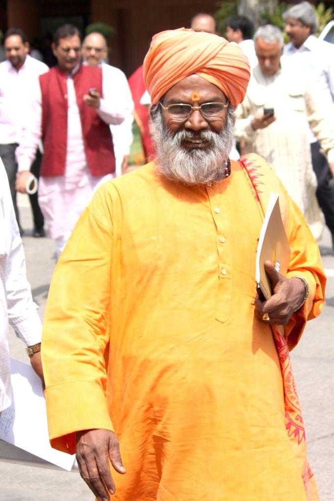 BJP MP Sakshi Maharaj at the Parliament in New Delhi, on April 28, 2015.