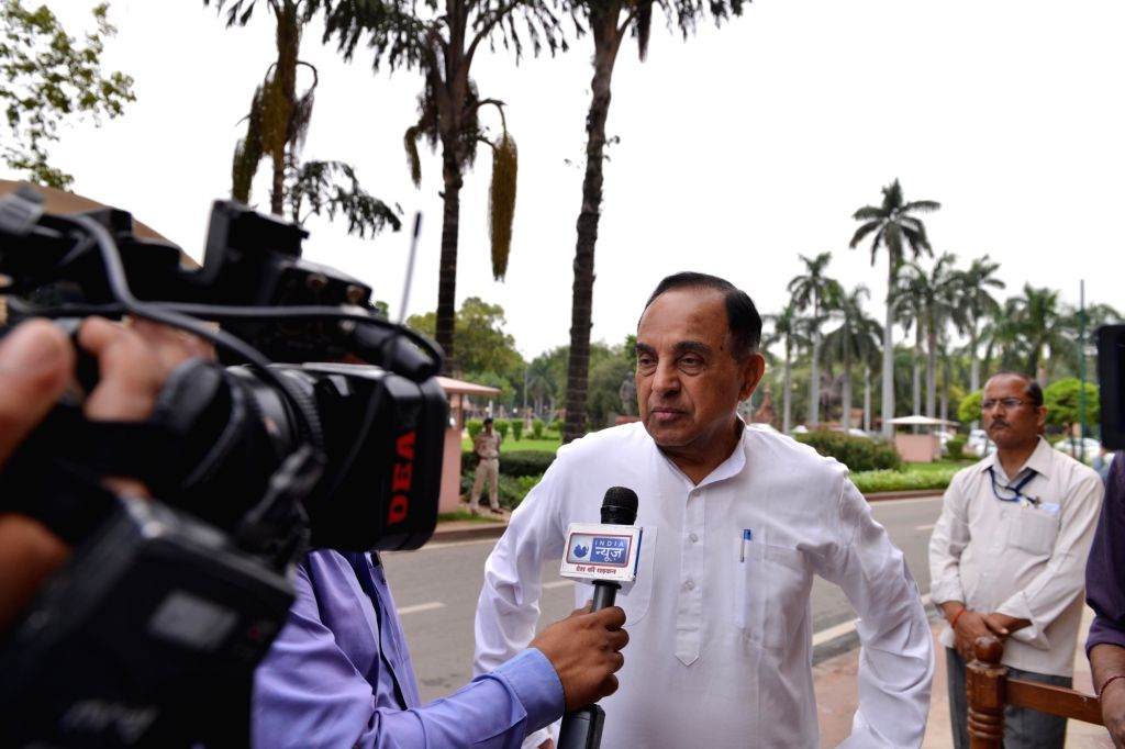 New Delhi: BJP MP Subramanian Swamy at Parliament in New Delhi on Aug 6, 2018. (Photo: IANS)