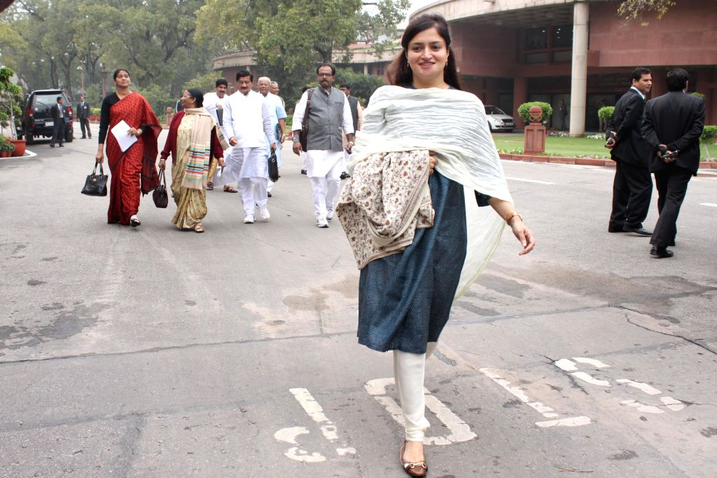 BJP MPs arrive at the Parliament to attend BJP parliamentary party meeting in New Delhi, on March 3, 2015.