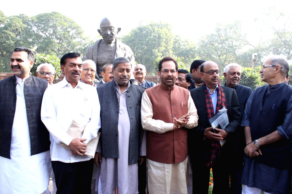 BJP MPs including Union MoS for Minority Affairs and Parliamentary Affairs Mukhtar Abbas Naqvi and Vijay Goel at the Parliament premises in New Delhi, on Dec 5, 2014.