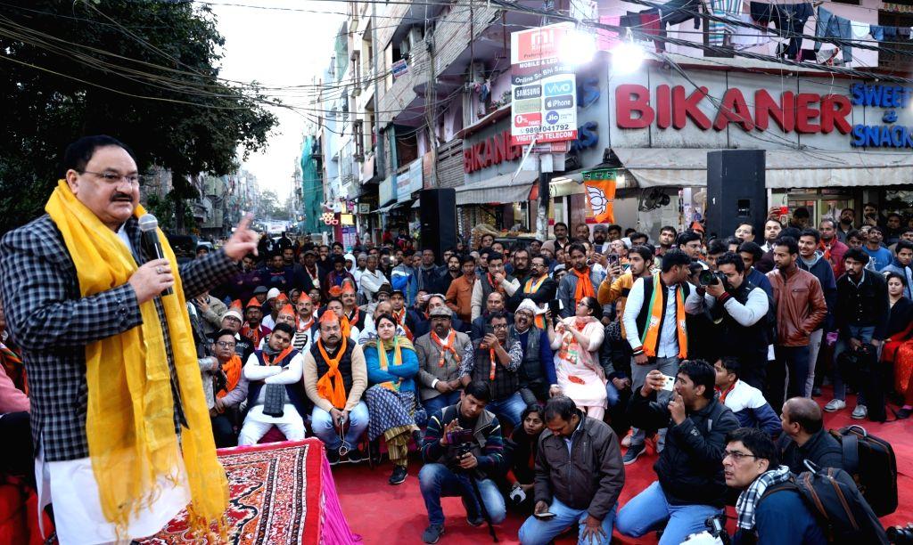 New Delhi: BJP National President JP Nadda addresses a gathering during 'Nukkad Sabha' ahead of Delhi Assembly elections, at Pandav Nagar's D-Park in New Delhi on Jan 24, 2020. (Photo: IANS)
