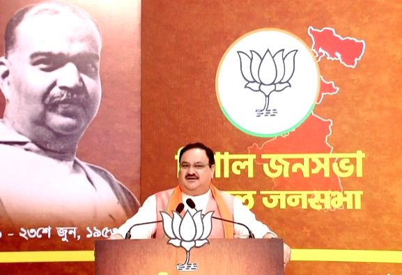 New Delhi: BJP National President JP Nadda addresses a virtual meeting on the birth anniversary of Dr. Syama Prasad Mookerjee, through video conferencing from the party's headquarters in New Delhi on July 6, 2020. (Photo: IANS)