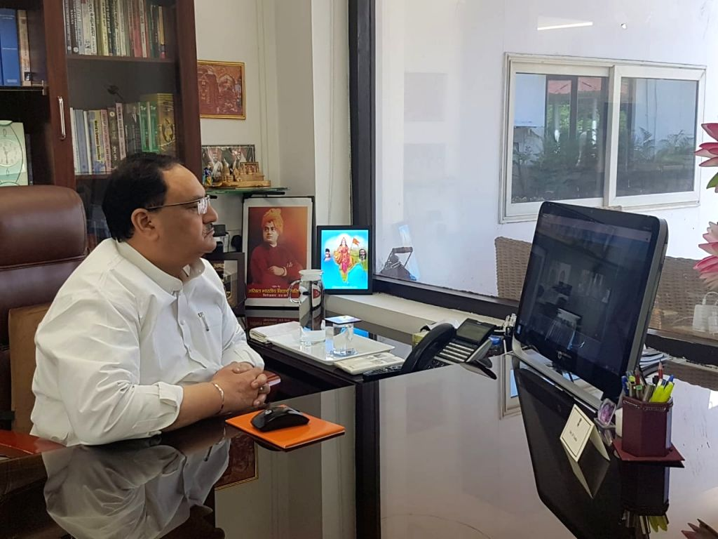 New Delhi: BJP National President JP Nadda interacts with the party state presidents, MPs, MLAs, District Presidents and State office bearers from West Bengal, Tamil Nadu, Andhra Pradesh and Karnataka via video conferencing on Day 4 of the lockdown i