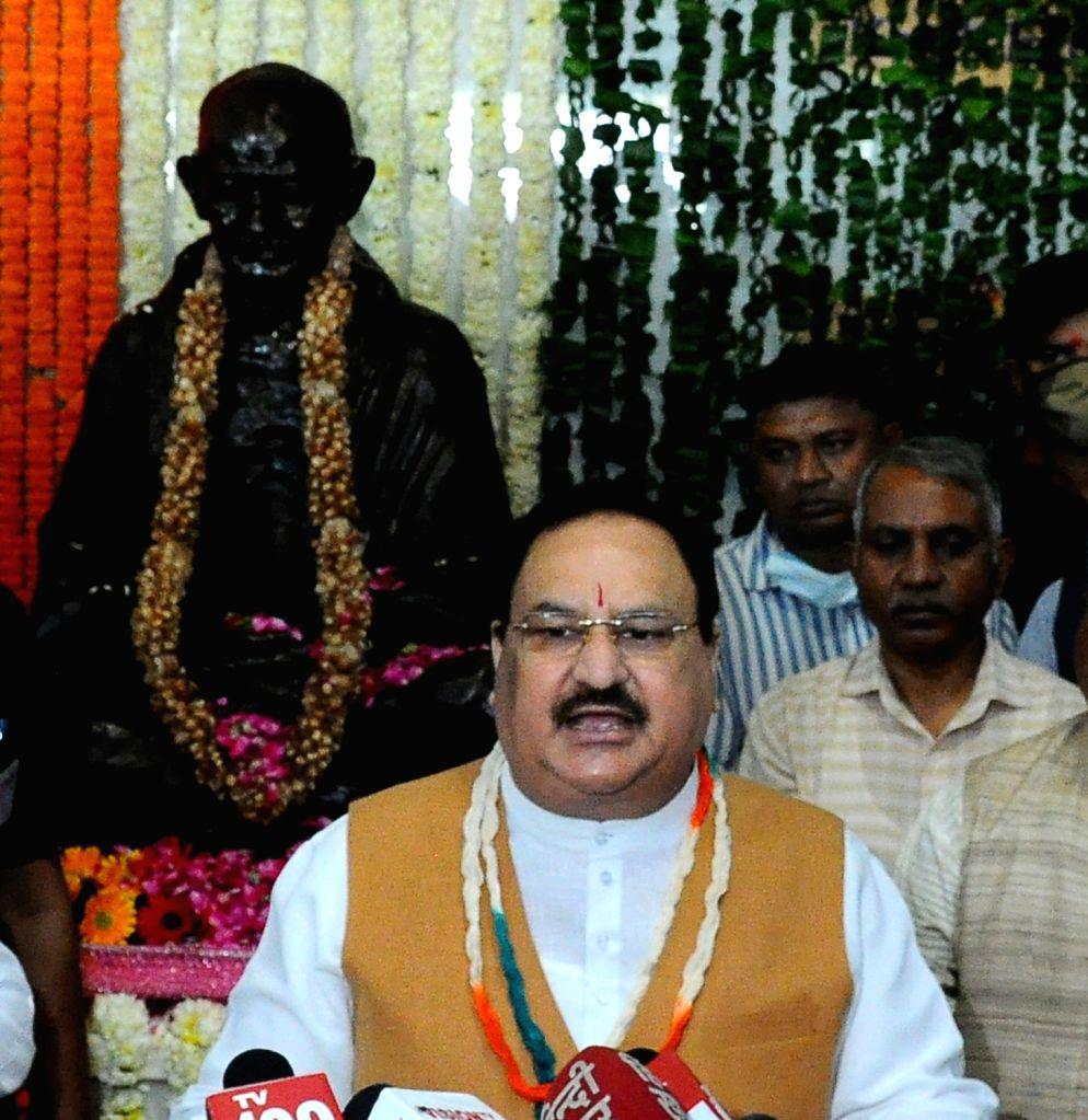 New Delhi: BJP National president JP Nadda pays tribute to Mahatma Gandhi on the occasion of Gandhi Jayanti, in New Delhi on Saturday October 02 2021.(Photo: Qamar Sibtain/IANS)
