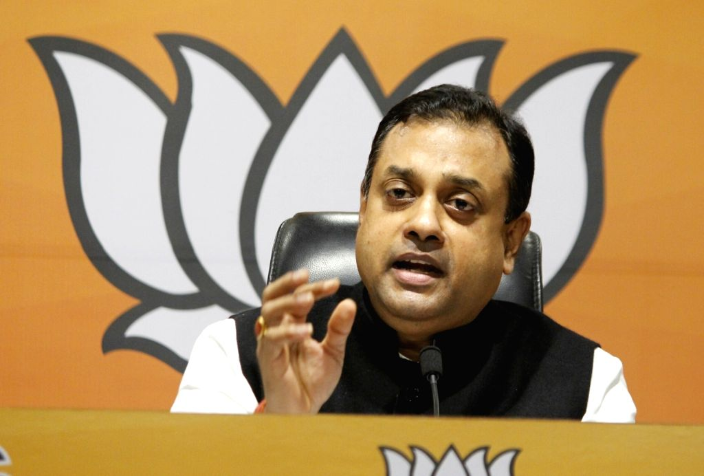 New Delhi: BJP National Spokesperson Sambit Patra addresses a press conference at the party's headquarters, in New Delhi on Aug 31, 2020. (Photo: IANS)