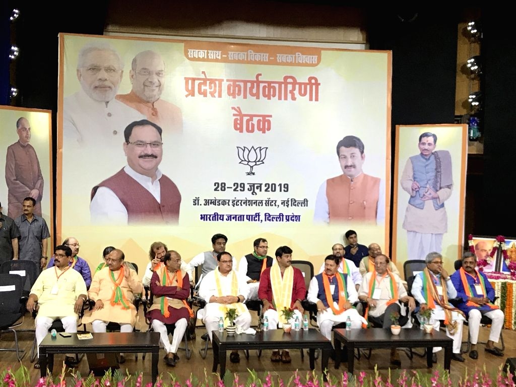 New Delhi: BJP National Working President J.P. Nadda with party leaders Vijender Gupta, Vijay Goel, Manoj Tiwari, Hans Raj Hans, Parvesh Verma and other leaders of the party at the inaugural session of the Delhi BJP Working Committee meeting, in New  - Vijender Gupta and Parvesh Verma