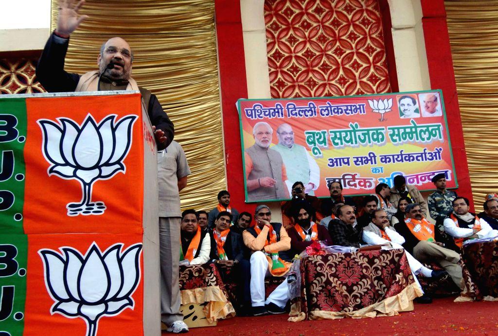 BJP president Amit Shah addressing a rally in New Delhi on Jan. 17, 2014. - Amit Shah