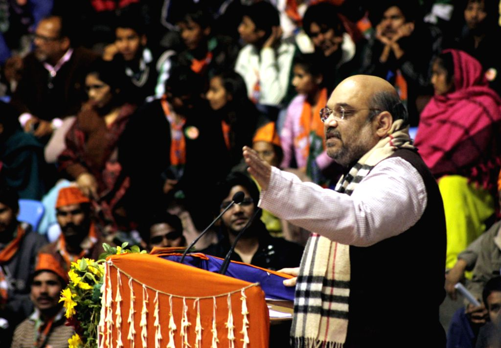 BJP president Amit Shah during a party rally at Talkatora Stadium in New Delhi on Jan. 30, 2015.