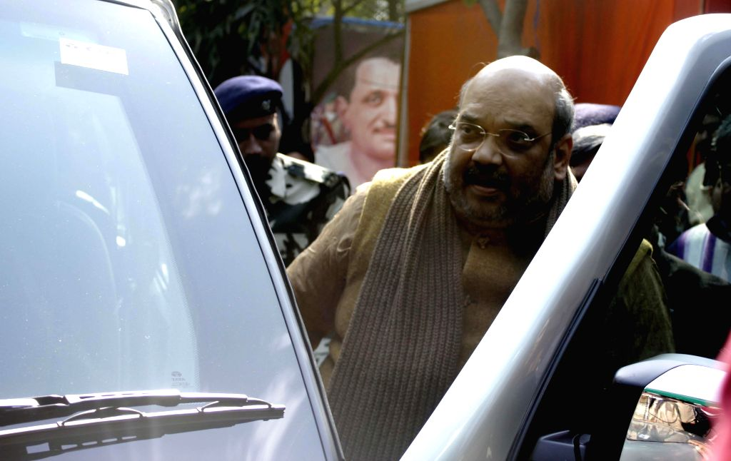 BJP president Amit Shah leaving party office after a meeting in New Delhi on Jan. 29, 2015.