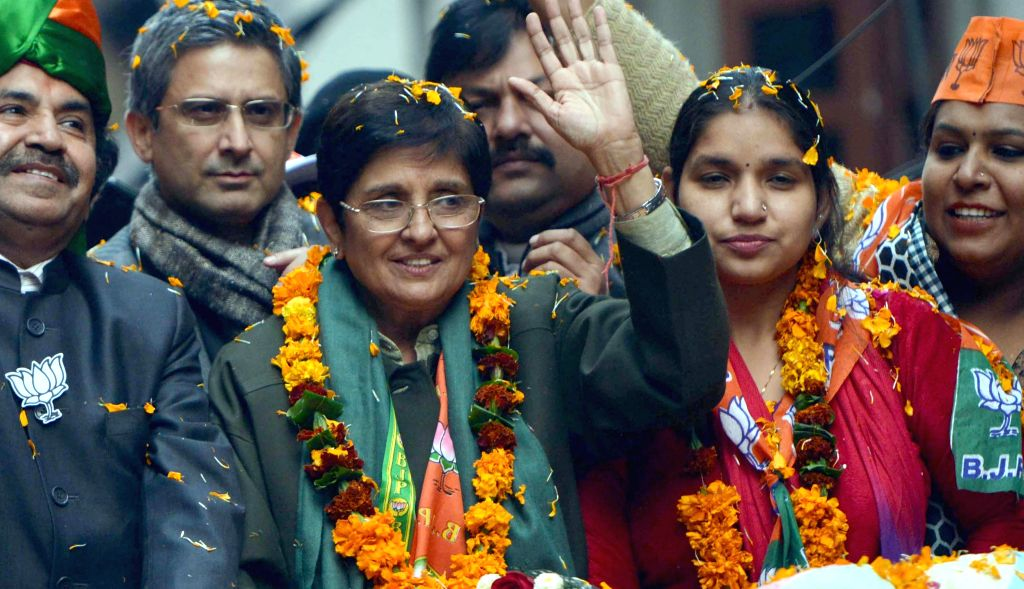 BJP's Chief Ministerial candidate for Delhi Kiran Bedi during an election campaign in Wazirpur on Jan 25, 2015.