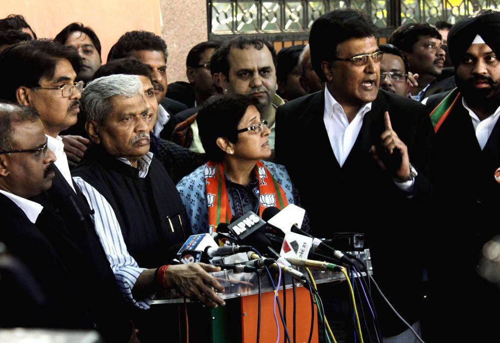 BJP`s Chief Ministerial candidate for Delhi Kiran Bedi addresses a press conference at BJP Headquarter in New Delhi on Feb. 5, 2015.