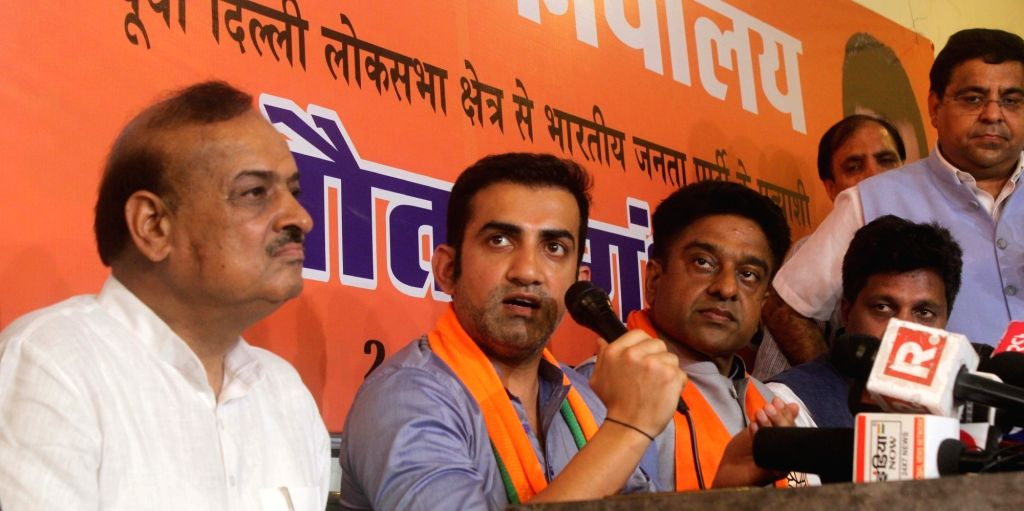 New Delhi: BJP's Lok Sabha candidate from East Delhi, Gautam Gambhir addresses a press conference in New Delhi, on April 25, 2019. (Photo: IANS)