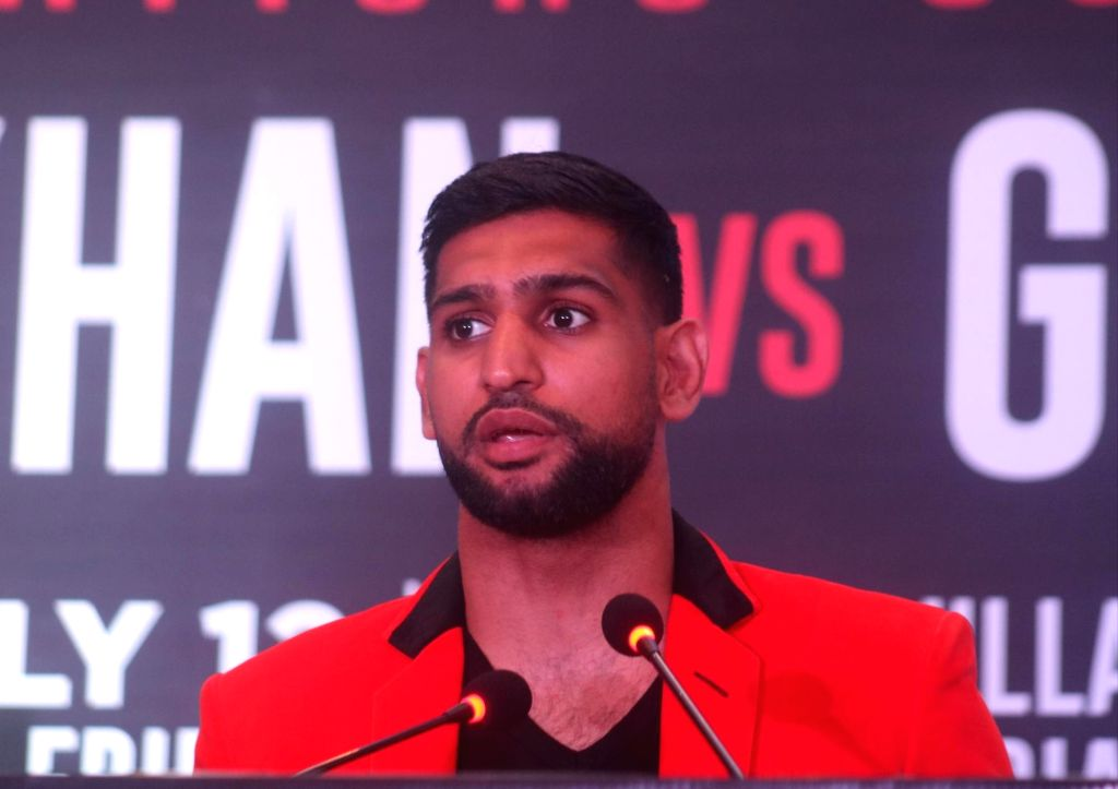 New Delhi: British boxer Amir Khan addresses a press conference ahead of a face off against Indian boxer Neeraj Goyat at the World Boxing Championship that will take place on July 12, 2019 at the King Abdullah Sports City in Jeddah, Saudi Arabia; in  - Khan