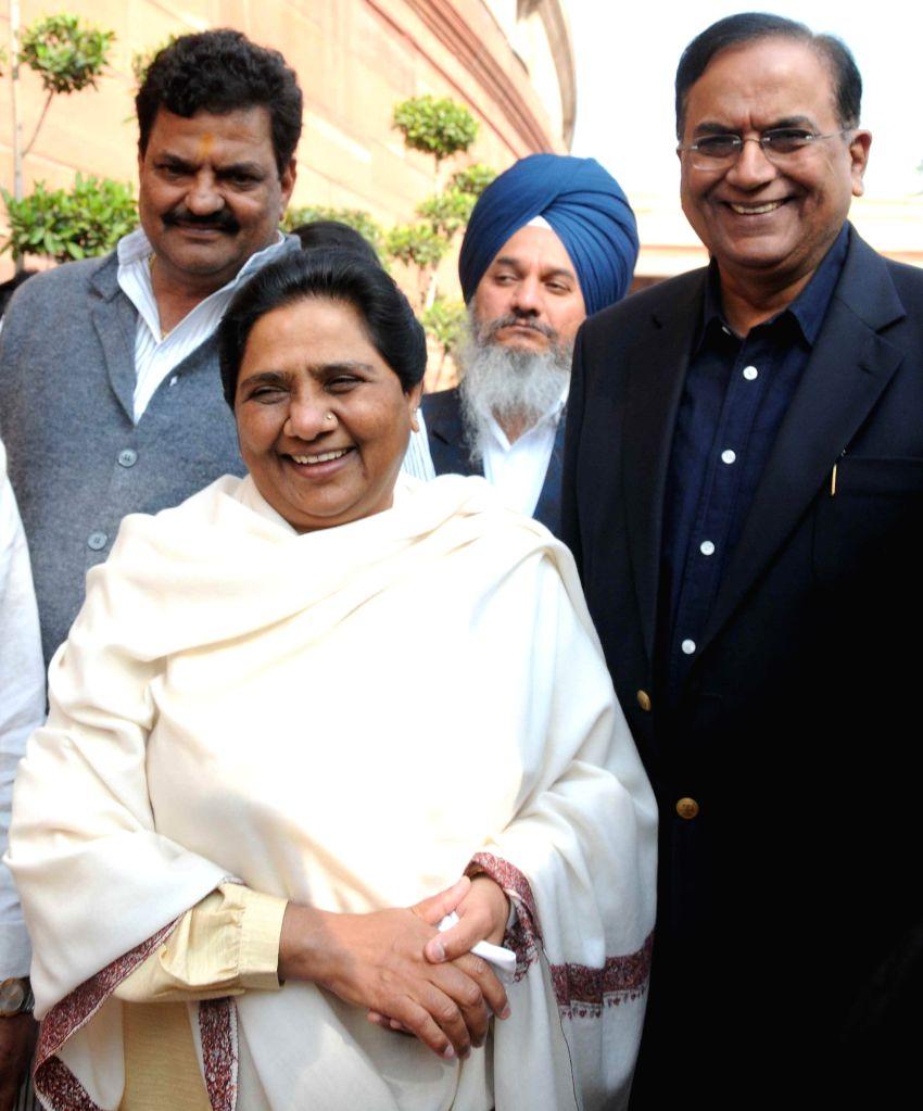 BSP chief Mayawati at the Parliament premises in New Delhi, on Nov 25, 2014.