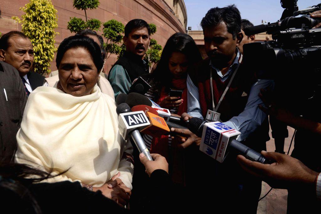 BSP chief Mayawati talks to press at the Parliament in New Delhi, on March 11, 2015.