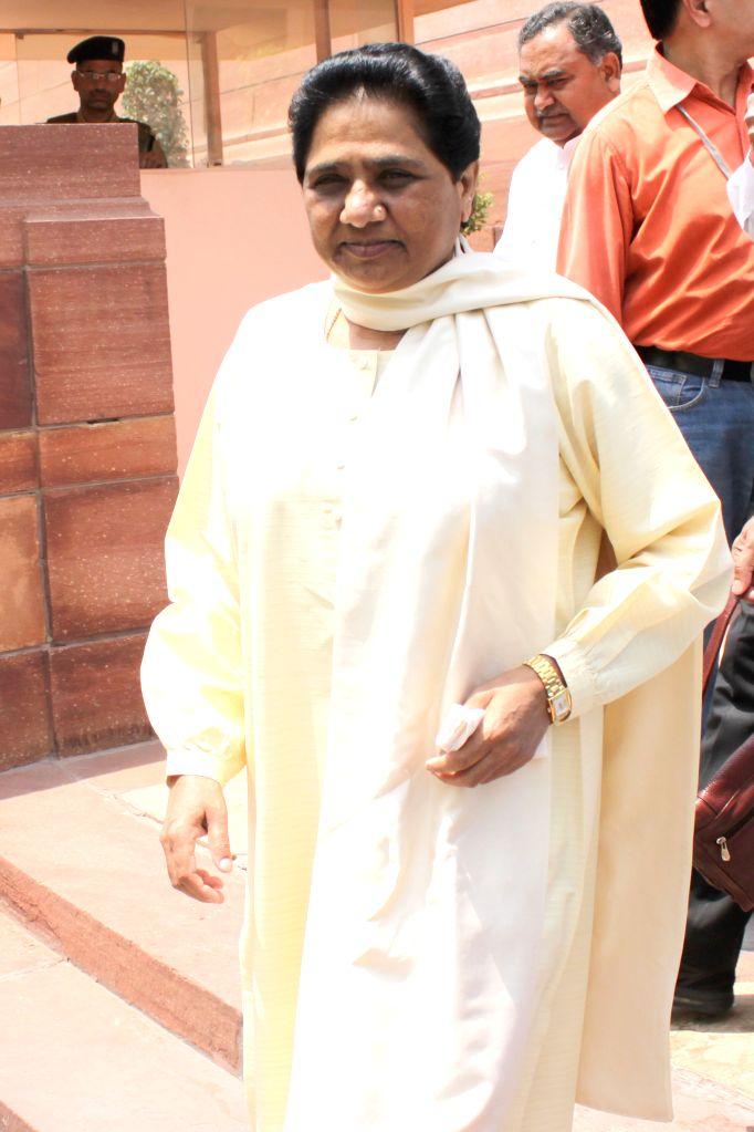 BSP supremo Mayawati at the Parliament in New Delhi, on April 28, 2015.