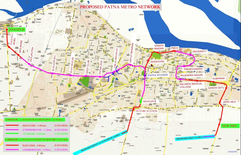 New Delhi: Cabinet approves Patna Metro Rail Project having two Corridors, at an estimated cost the project is Rs. 13411.24 Cr. The Project will be completed in 05 years. (Photo Source: PIB)