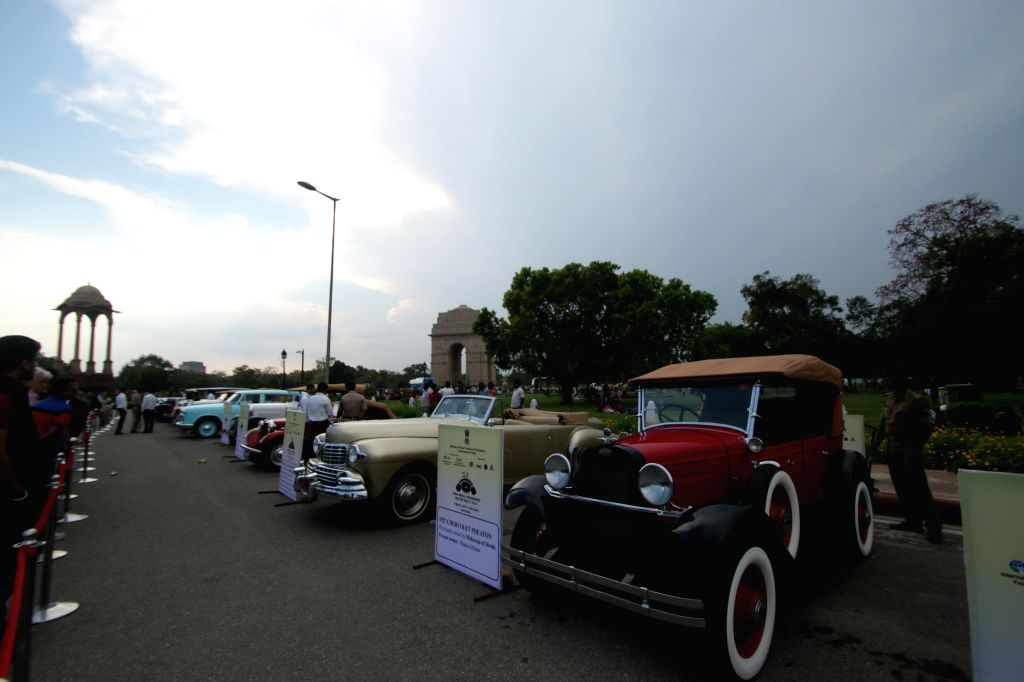Cars parked at the India Gate after the culmination of Indio-Nepal Car Rally at India Gate in New Delhi, on March 8, 2015.