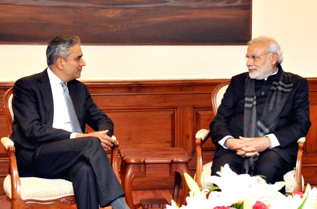 CEO of Deutsche Bank AG Anshu Jain calls on the Prime Minister Narendra Modi, in New Delhi on Feb. 2, 2015. - Narendra Modi