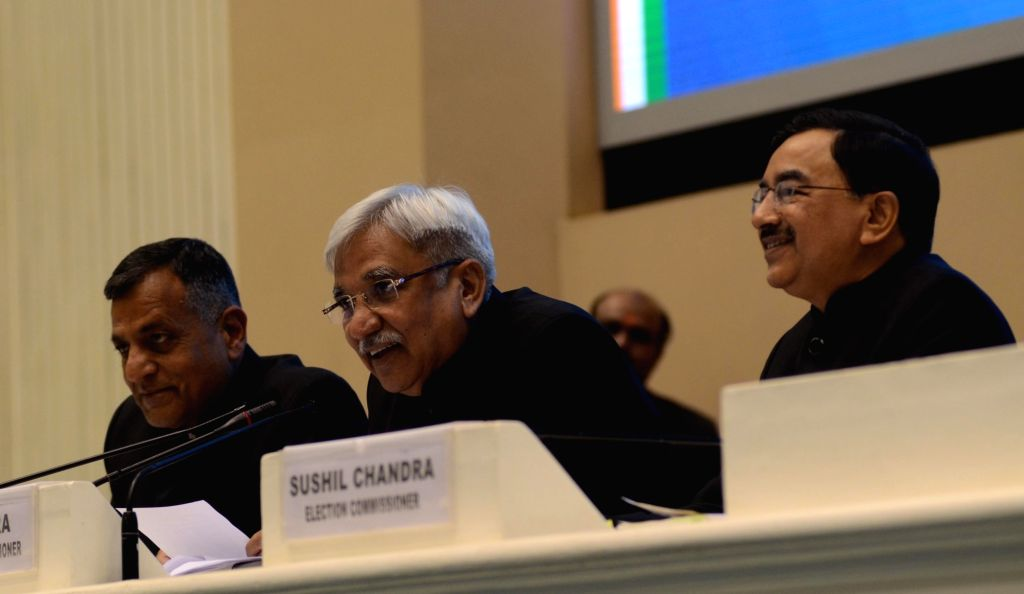 New Delhi:  Chief Election Commissioner Sunil Arora accompanied by Election commissioners Ashok Lavasa and Sushil Chandra, addresses a press conference to announce the 2019 Lok Sabha election schedule, at Vigyan Bhavan in New Delhi, on March 10, 2019