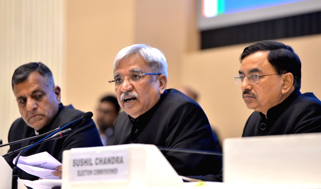 New Delhi: Chief Election Commissioner Sunil Arora accompanied by Election commissioners Ashok Lavasa and Sushil Chandra, addresses a press conference to announce the 2019 Lok Sabha election schedule, at Vigyan Bhavan in New Delhi, on March 10, 2019.