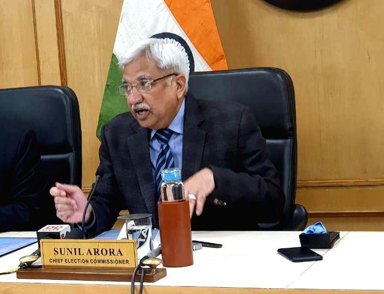 New Delhi: Chief Election Commissioner Sunil Arora addresses a press conference in New Delhi on Jan 6, 2020. (Photo: IANS)