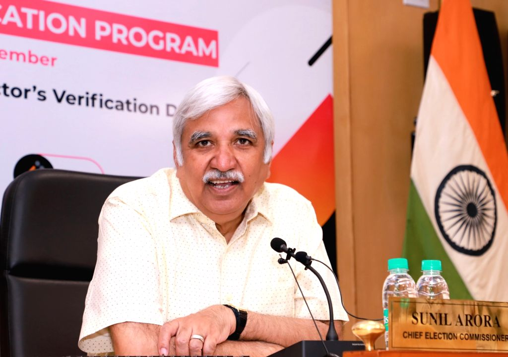 New Delhi: Chief Election Commissioner Sunil Arora addresses at the launch of the Electoral Verification Program, in New Delhi on Sept 1, 2019. (Photo: IANS/PIB)