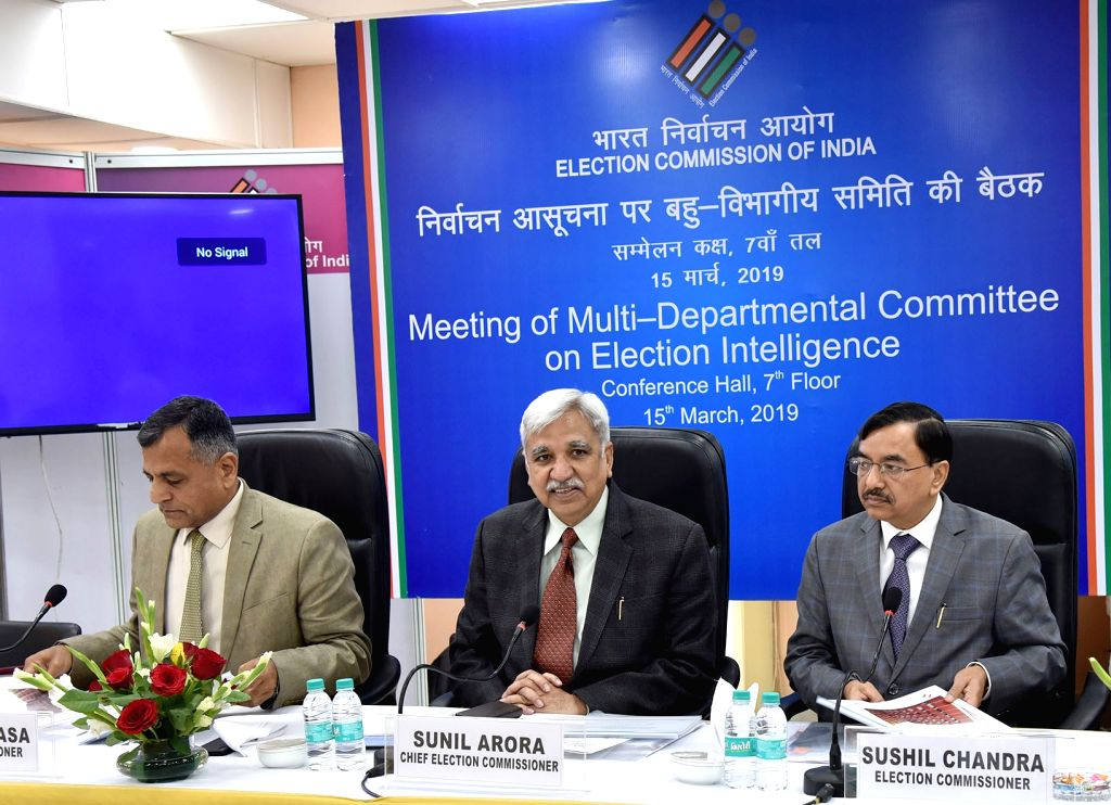 New Delhi: Chief Election Commissioner Sunil Arora along with the Election Commissioners Ashok Lavasa and Sushil Chandra holds a meeting of multi-departmental committee on election intelligence, ahead of 2019 Lok Sabha elections, in New Delhi, on Mar