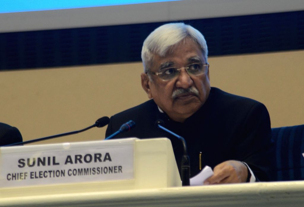 New Delhi: Chief Election Commissioner Sunil Arora during a press conference to announce the 2019 Lok Sabha election schedule at Vigyan Bhavan in New Delhi, on March 10, 2019. (Photo: IANS)