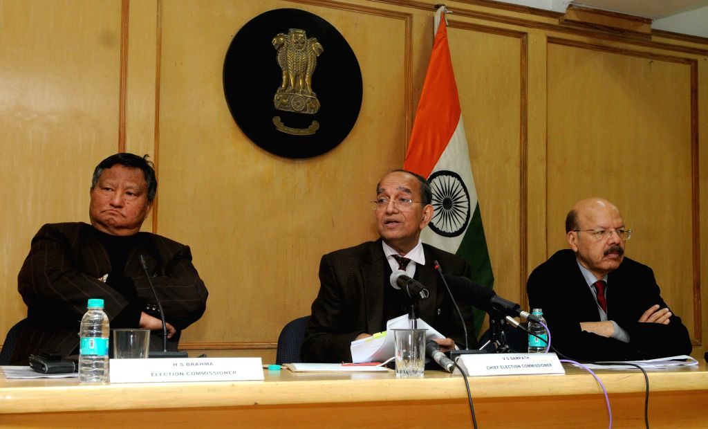 Chief Election Commissioner V.S. Sampath addresses a press conference to announce the dates for Delhi Assembly Polls in New Delhi on Jan 12, 2015. Also seen Election Commissioners H.S. ...