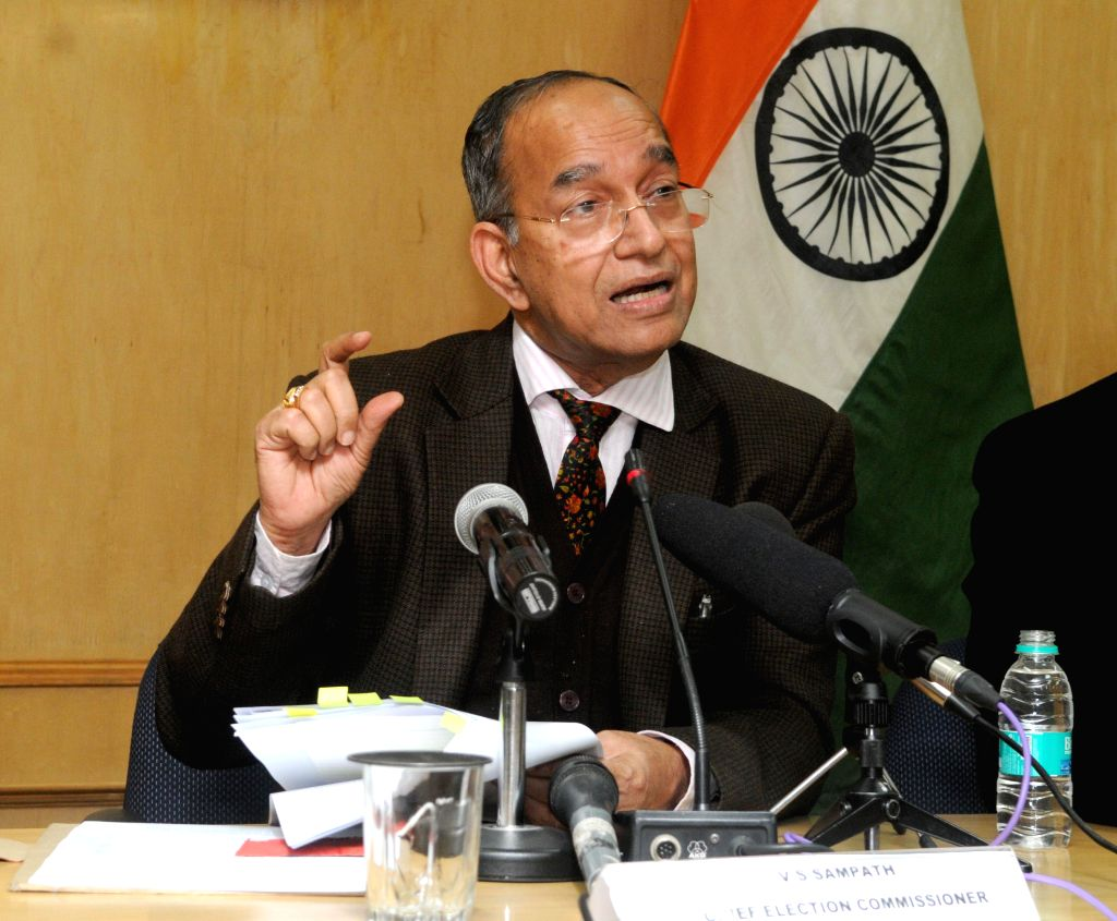 Chief Election Commissioner V.S. Sampath addresses a press conference to announce the dates for Delhi Assembly Polls in New Delhi on Jan 12, 2015. The polls will be held on Feb 7 and the ..