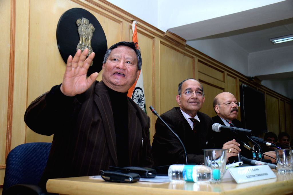 Chief Election Commissioner V.S. Sampath with the Election Commissioners, H.S. Brahma and Dr. Syed Nasim Ahmad Zaidi during  a press conference to announce the dates for Delhi Assembly ...