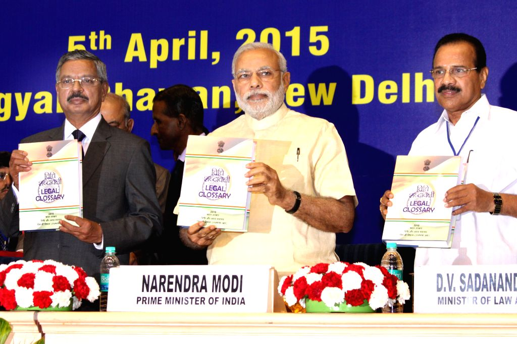 Chief Justice of India, H.L. Dattu Prime, Minister Narendra Modi and Minister of Law DV Sadananda Gowda during the Joint Conference of Chief Ministers and Chief Justices of High Courts, in ... - Narendra Modi