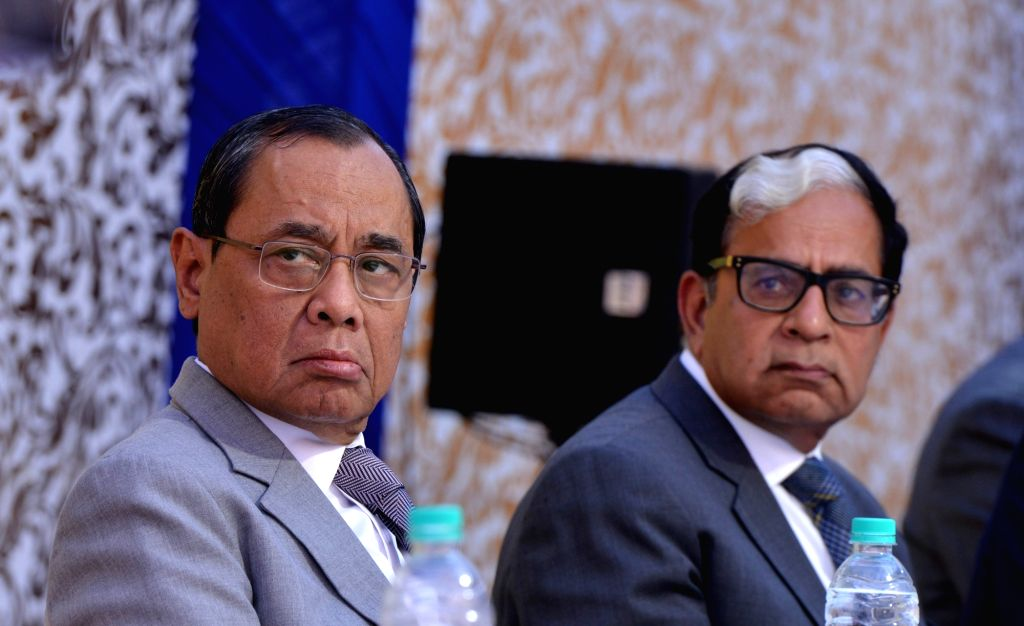 New Delhi: Chief Justice of India Ranjan Gogoi with with Justice A.K. Sikri at his farewell ceremony in New Delhi on March 6, 2019. (Photo: IANS)