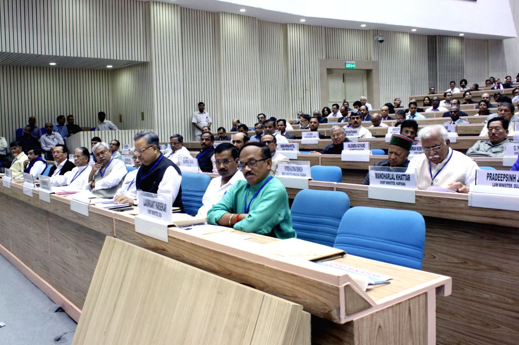 Chief Ministers and delegates during the Joint Conference of Chief Ministers and Chief Justices of High Courts, in New Delh on April 05, 2015.