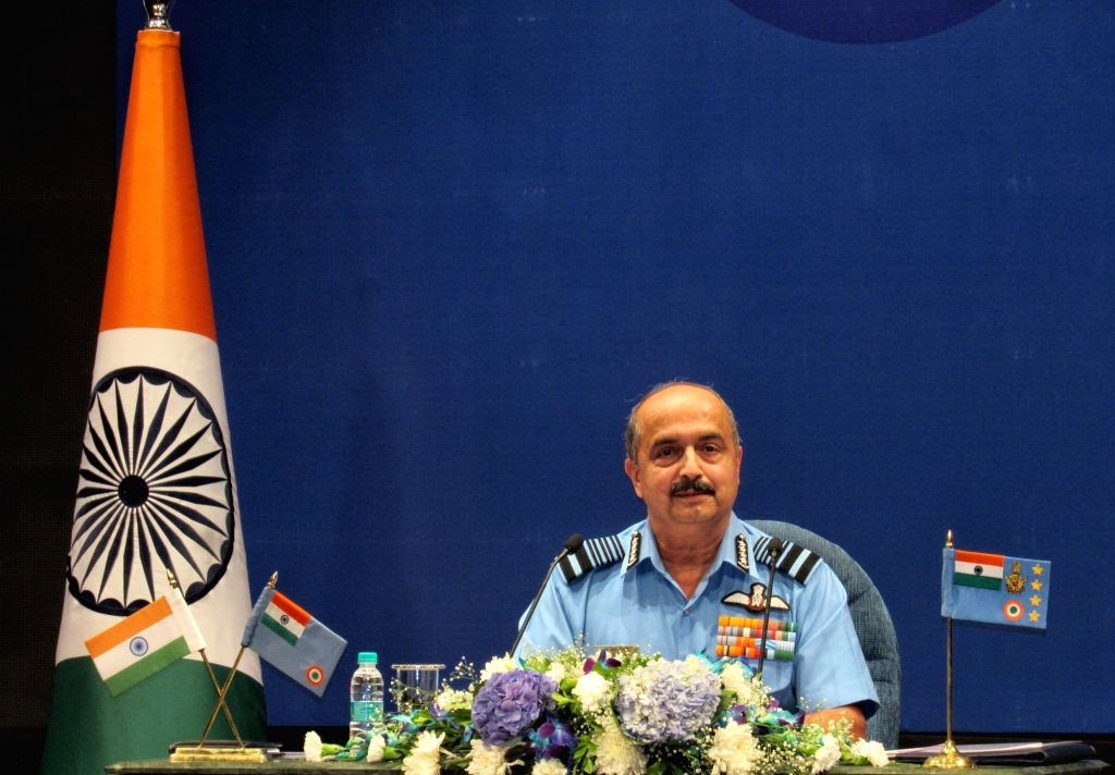 New Delhi : Chief of Air staff Air Chief Marshal Vivek Ram Chaudhary addressing during Annual press conference ahead of the 89th Air Force Day on October 8 in New Delhi on Tuesday October 05, 2021.