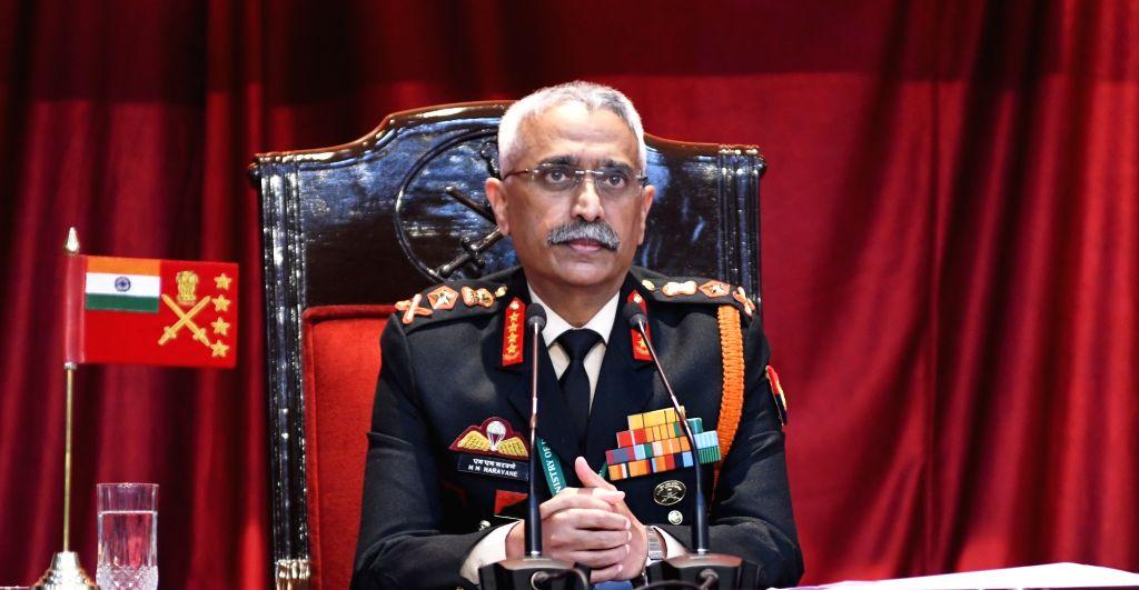 New Delhi: Chief of Army Staff Gen. Manoj Mukund Naravane addressing a press conference on Army day Parade 2021, in New Delhi on Tuesday, 12 January  2021. (Photo: Bidesh Manna/IANS)