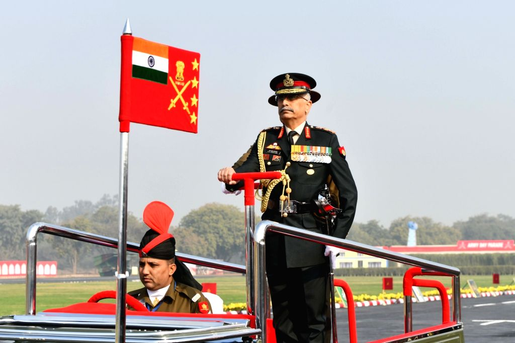 New Delhi: Chief of the Army Staff General Manoj Mukund Naravane inspects the Army Day parade at Cariappa Parade Ground in New Delhi on Jan 15, 2020. (Photo: IANS)
