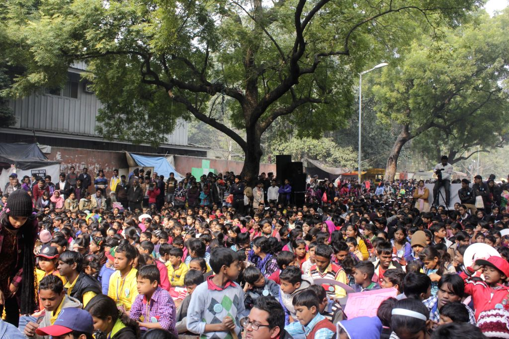 Childrens participate during a programme organised by `NINEISMINE` at Jantar Mantar in New Delhi on Feb. 2, 2015.