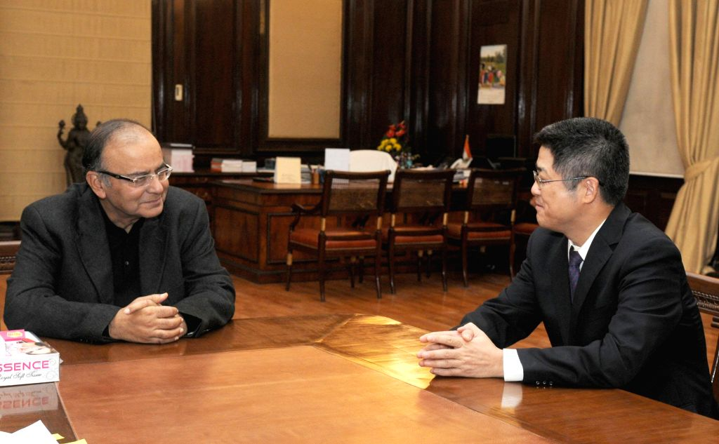 Chinese Ambassador to India, Le Yucheng calls on the Union Minister for Finance, Corporate Affairs, and Information and Broadcasting, Arun Jaitley, in New Delhi on Dec 4, 2014.