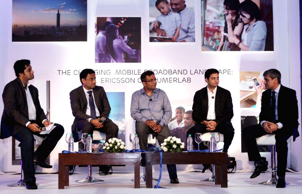 CitiBank India Digital Innovation (Head) Sridhar Iyer, Gaana.com business head Pawan Agarwal, and Ericsson India VP and strategy head Ajay Gupta during a press conference in New Delhi on ... - Ajay Gupta