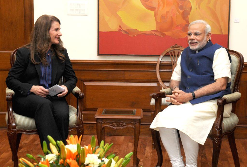 Co-founder of the Bill and Melinda Gates Foundation Melinda Gates calls on the Prime Minister Narendra Modi, in New Delhi on April 20, 2015. - Narendra Modi
