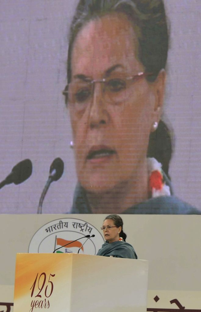 :New Delhi: Congress chief Sonia Gandhi addresses during a programme organised to pay tribute to former Prime Minister Pandit Jawaharlal Nehru on his 126th birth anniversary in New Delhi on Nov 14, ... - Narendra Modi
