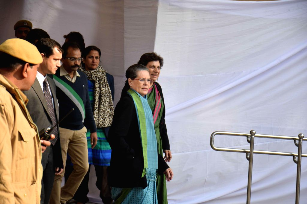 Congress chief Sonia Gandhi arrives to cast her vote at a polling booth during Delhi Assembly Polls in New Delhi, on Feb 7, 2015.