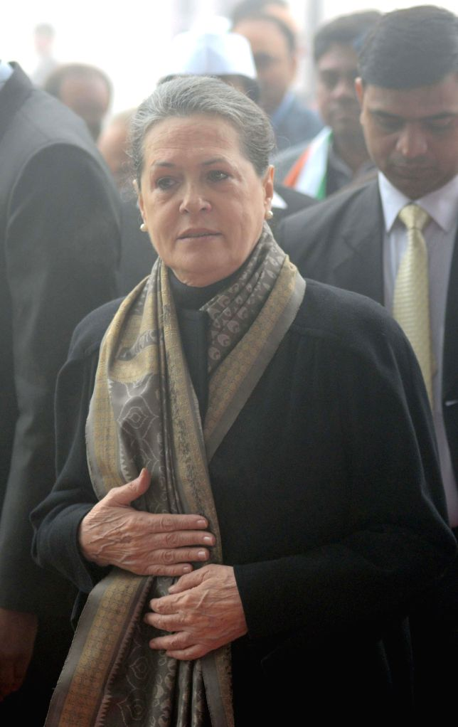 Congress chief Sonia Gandhi during a programme organised on the foundation day of the party at Congress headquarters in New Delhi on Dec 28, 2014. - Sonia Gandhi