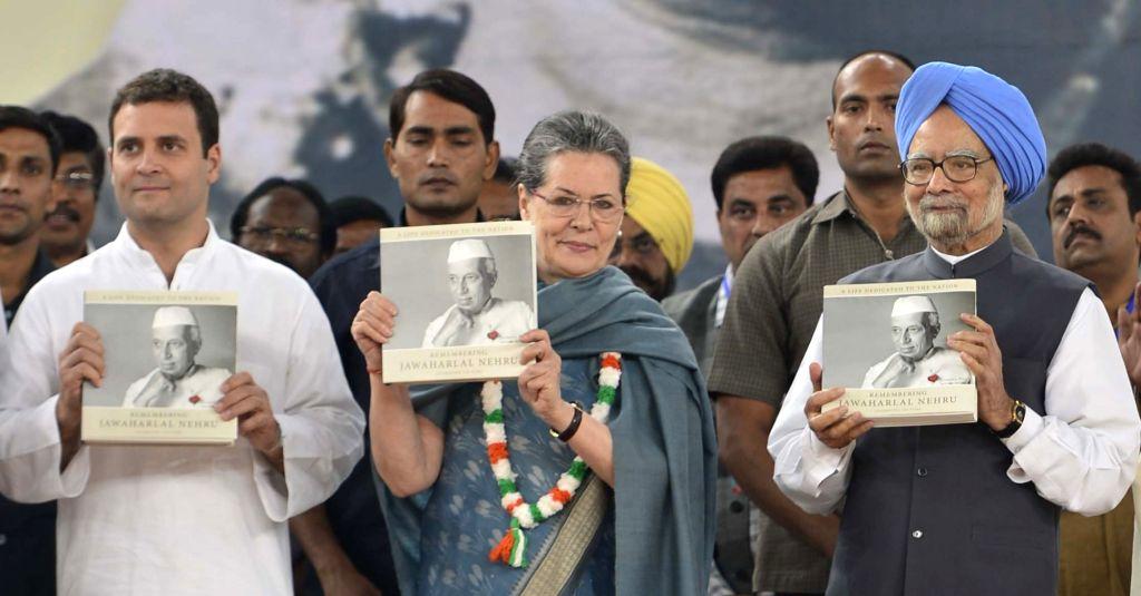 :New Delhi: Congress chief Sonia Gandhi, Rahul Gandhi, Dr Manmohan Singh during a programme organised to pay tribute to former Prime Minister Pandit Jawaharlal Nehru on his 126th birth anniversary ... - Narendra Modi