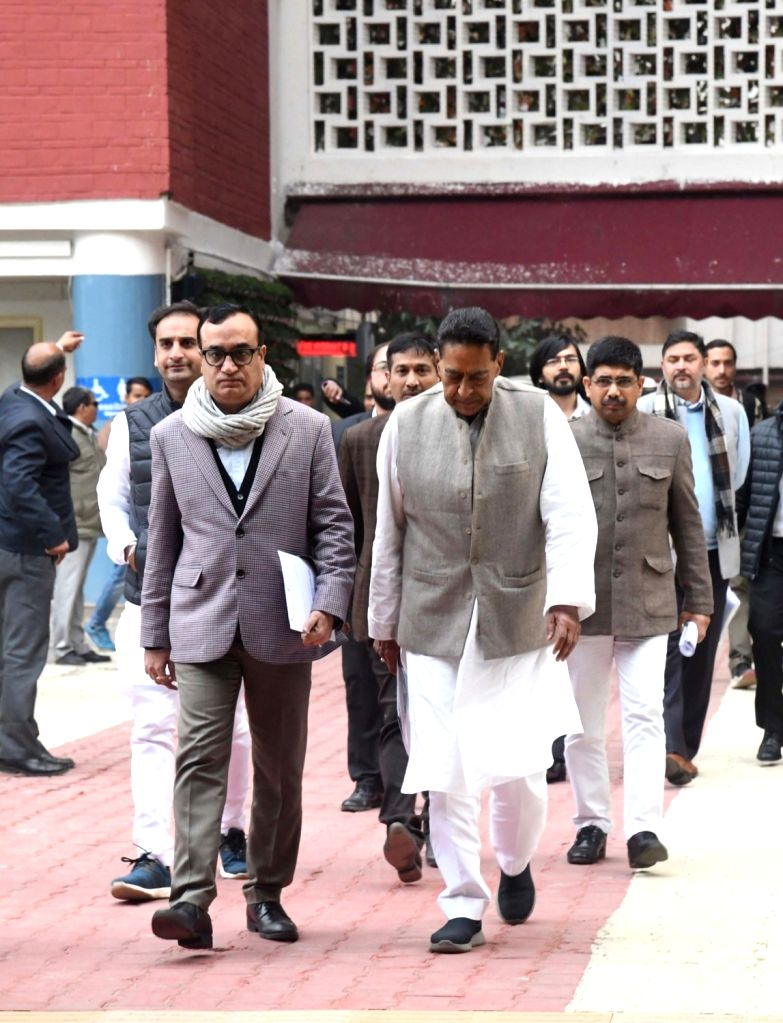 New Delhi: Congress delegation led by party leaders Ajay Maken and Subhash Chopra arrive after meeting the Election Commission and submitting a complaint against BJP leaders', including Minister of State for Finance Anurag Thakur, over their statemen - Subhash Chopra